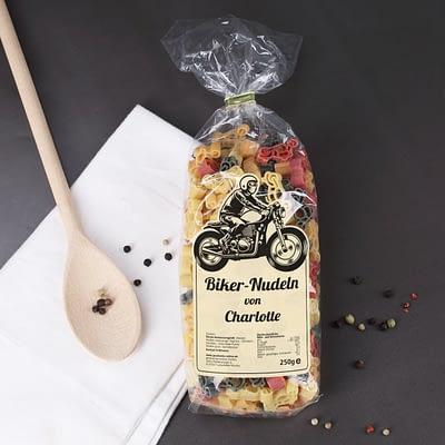 Biker Nudeln mit Namensaufdruck